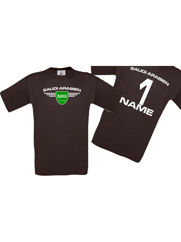 Man T-Shirt Saudi Arabien Wappen mit Wunschnamen und Wunschnummer, Land, Länder, braun, L