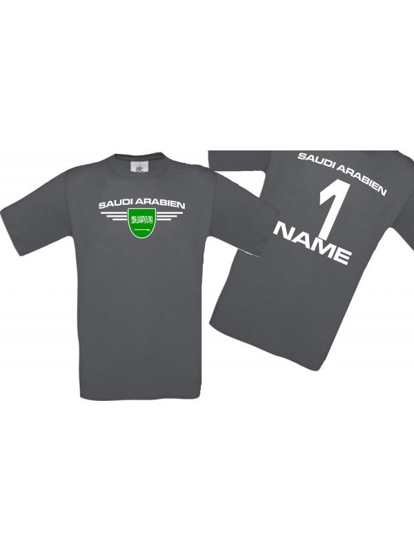 Man T-Shirt Saudi Arabien Wappen mit Wunschnamen und Wunschnummer, Land, Länder, grau, L