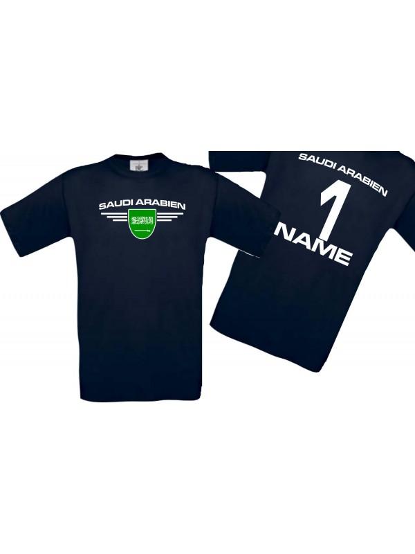 Man T-Shirt Saudi Arabien Wappen mit Wunschnamen und Wunschnummer, Land, Länder, navy, L