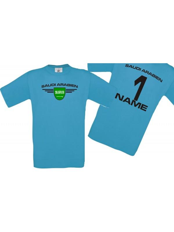 Man T-Shirt Saudi Arabien Wappen mit Wunschnamen und Wunschnummer, Land, Länder, türkis, L