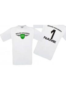 Man T-Shirt Saudi Arabien Wappen mit Wunschnamen und Wunschnummer, Land, Länder, weiss, L