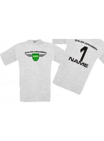 Man T-Shirt Saudi Arabien Wappen mit Wunschnamen und Wunschnummer, Land, Länder, ash, L