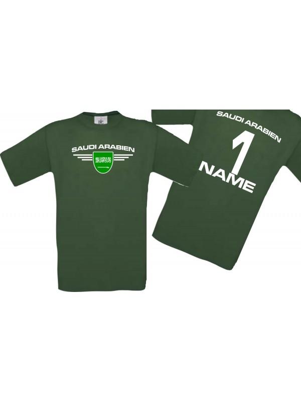 Man T-Shirt Saudi Arabien Wappen mit Wunschnamen und Wunschnummer, Land, Länder, gruen, L