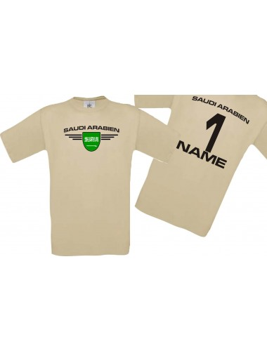 Man T-Shirt Saudi Arabien Wappen mit Wunschnamen und Wunschnummer, Land, Länder, khaki, L