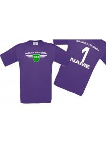 Man T-Shirt Saudi Arabien Wappen mit Wunschnamen und Wunschnummer, Land, Länder, lila, L