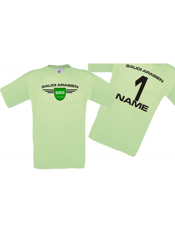 Man T-Shirt Saudi Arabien Wappen mit Wunschnamen und Wunschnummer, Land, Länder, mint, L