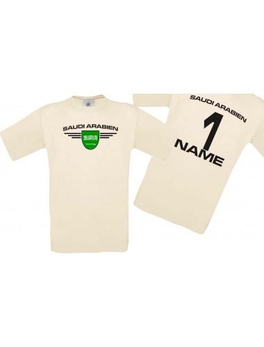 Man T-Shirt Saudi Arabien Wappen mit Wunschnamen und Wunschnummer, Land, Länder, natur, L