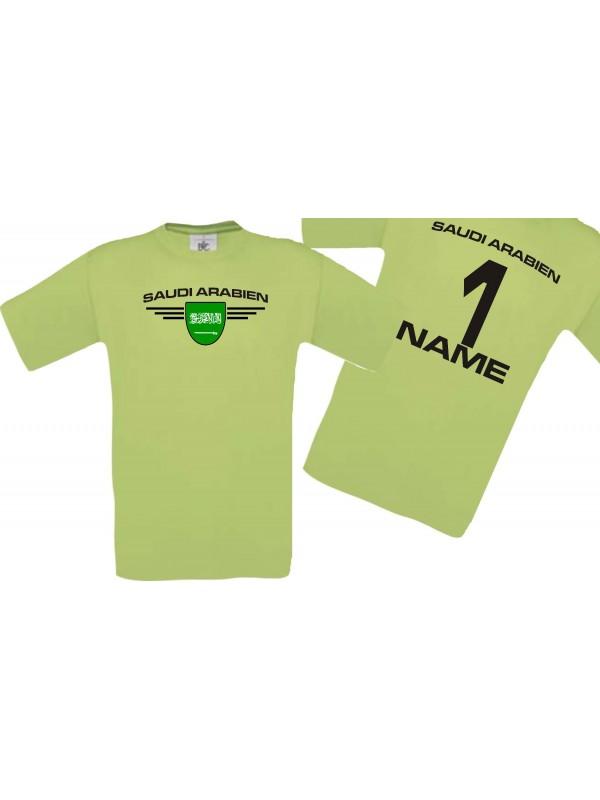 Man T-Shirt Saudi Arabien Wappen mit Wunschnamen und Wunschnummer, Land, Länder, pistas, L