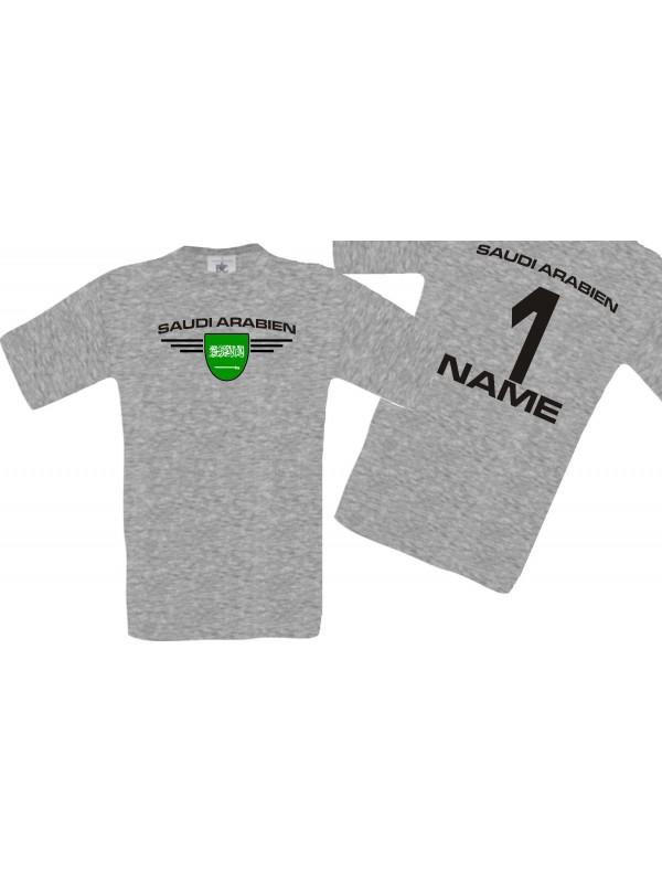 Man T-Shirt Saudi Arabien Wappen mit Wunschnamen und Wunschnummer, Land, Länder, sportsgrey, L