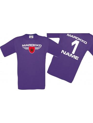 Man T-Shirt Marokko Ländershirt mit Ihrem Wunschnamen und Ihrer Wunschzahl, Fußball