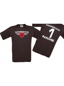 Man T-Shirt Marokko Wappen mit Wunschnamen und Wunschnummer, Land, Länder, braun, L