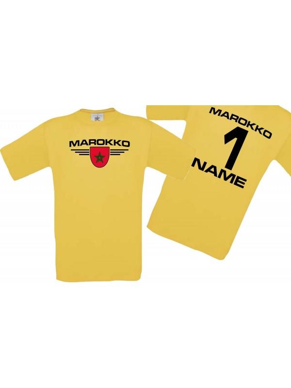 Man T-Shirt Marokko Wappen mit Wunschnamen und Wunschnummer, Land, Länder, gelb, L