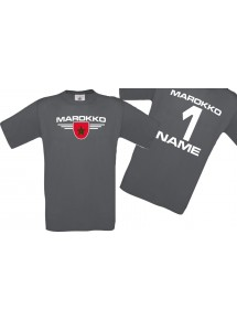 Man T-Shirt Marokko Wappen mit Wunschnamen und Wunschnummer, Land, Länder, grau, L