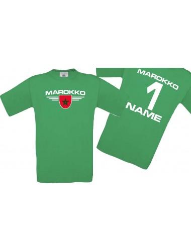 Man T-Shirt Marokko Wappen mit Wunschnamen und Wunschnummer, Land, Länder, kelly, L