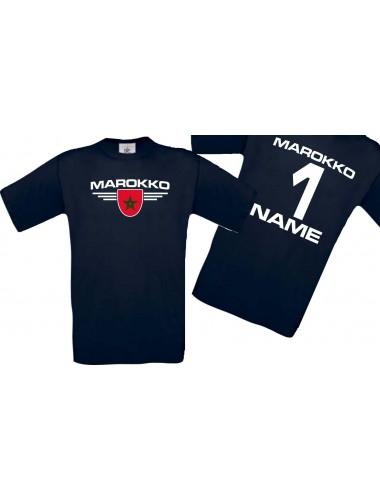 Man T-Shirt Marokko Wappen mit Wunschnamen und Wunschnummer, Land, Länder, navy, L