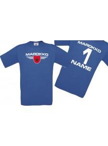 Man T-Shirt Marokko Wappen mit Wunschnamen und Wunschnummer, Land, Länder, royal, L