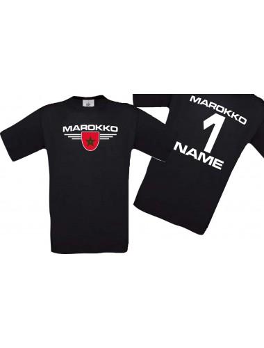 Man T-Shirt Marokko Wappen mit Wunschnamen und Wunschnummer, Land, Länder, schwarz, L