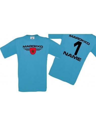 Man T-Shirt Marokko Wappen mit Wunschnamen und Wunschnummer, Land, Länder, türkis, L