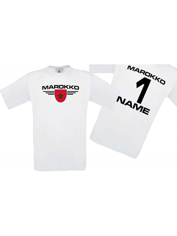Man T-Shirt Marokko Wappen mit Wunschnamen und Wunschnummer, Land, Länder, weiss, L