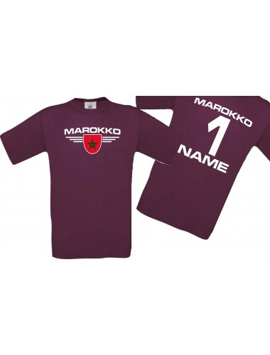 Man T-Shirt Marokko Wappen mit Wunschnamen und Wunschnummer, Land, Länder, burgundy, L