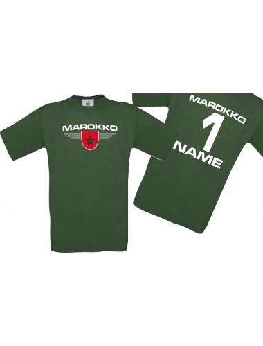 Man T-Shirt Marokko Wappen mit Wunschnamen und Wunschnummer, Land, Länder, gruen, L