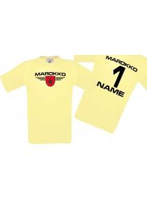 Man T-Shirt Marokko Wappen mit Wunschnamen und Wunschnummer, Land, Länder, hellgelb, L