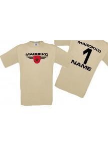 Man T-Shirt Marokko Wappen mit Wunschnamen und Wunschnummer, Land, Länder, khaki, L