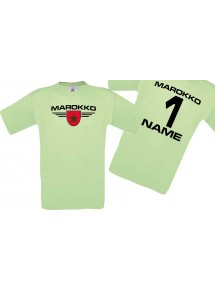 Man T-Shirt Marokko Wappen mit Wunschnamen und Wunschnummer, Land, Länder, mint, L