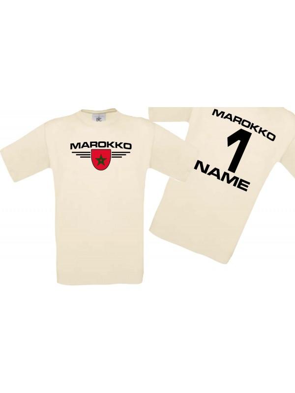 Man T-Shirt Marokko Wappen mit Wunschnamen und Wunschnummer, Land, Länder, natur, L