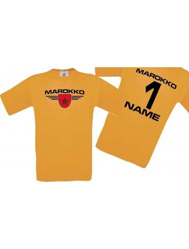 Man T-Shirt Marokko Wappen mit Wunschnamen und Wunschnummer, Land, Länder, orange, L