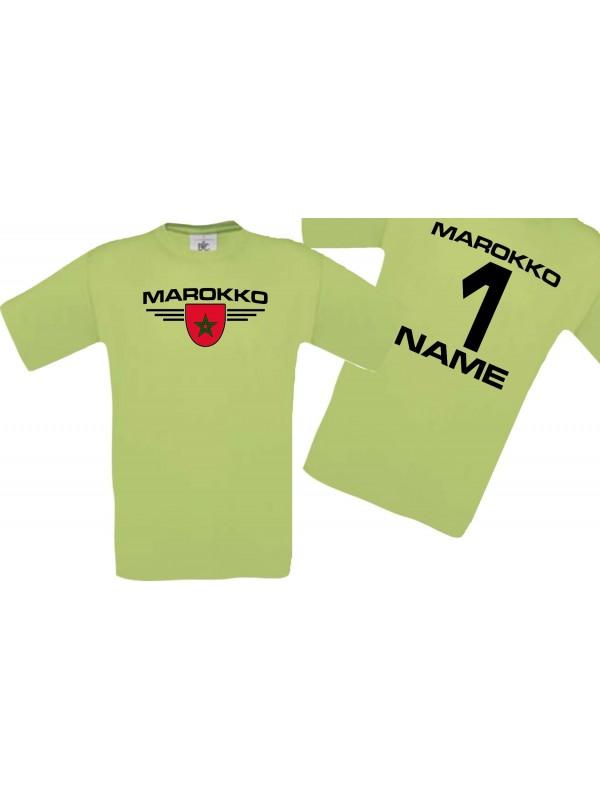 Man T-Shirt Marokko Wappen mit Wunschnamen und Wunschnummer, Land, Länder, pistas, L