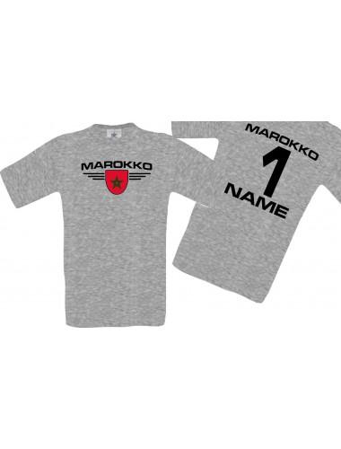 Man T-Shirt Marokko Wappen mit Wunschnamen und Wunschnummer, Land, Länder, sportsgrey, L
