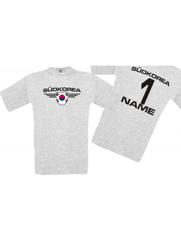 Man T-Shirt Südkorea Ländershirt mit Ihrem Wunschnamen und Ihrer Wunschzahl, Fußball