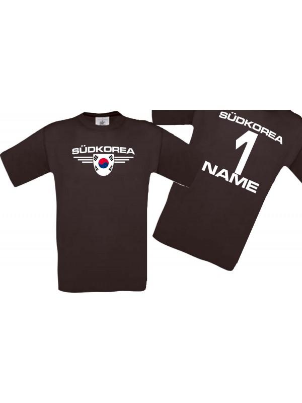 Man T-Shirt Südkorea Wappen mit Wunschnamen und Wunschnummer, Land, Länder, braun, L