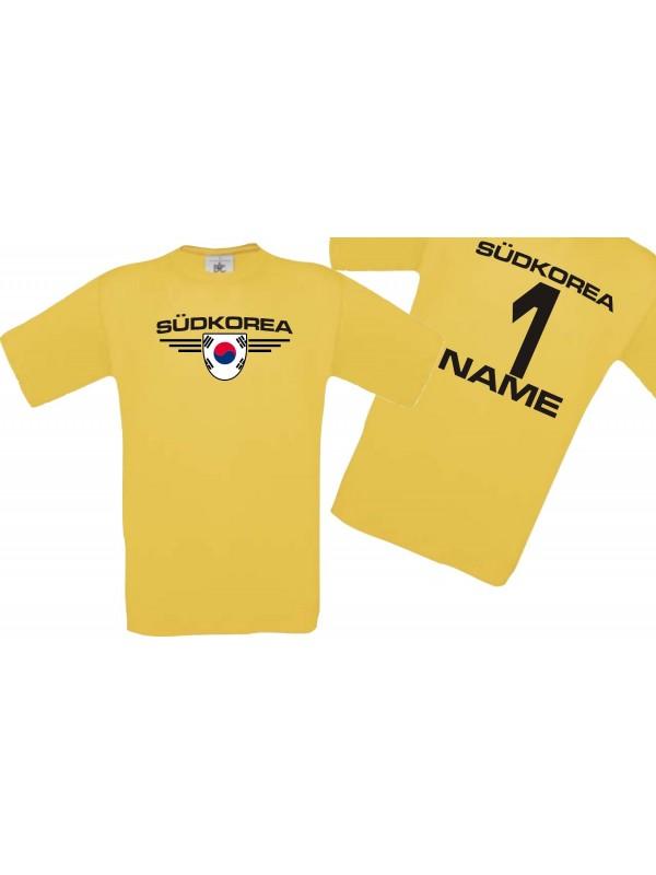 Man T-Shirt Südkorea Wappen mit Wunschnamen und Wunschnummer, Land, Länder, gelb, L