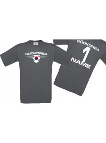 Man T-Shirt Südkorea Wappen mit Wunschnamen und Wunschnummer, Land, Länder, grau, L