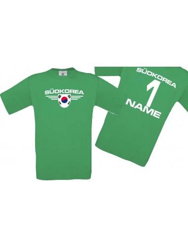 Man T-Shirt Südkorea Wappen mit Wunschnamen und Wunschnummer, Land, Länder, kelly, L