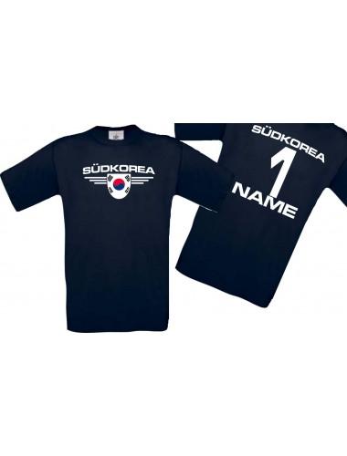Man T-Shirt Südkorea Wappen mit Wunschnamen und Wunschnummer, Land, Länder, navy, L
