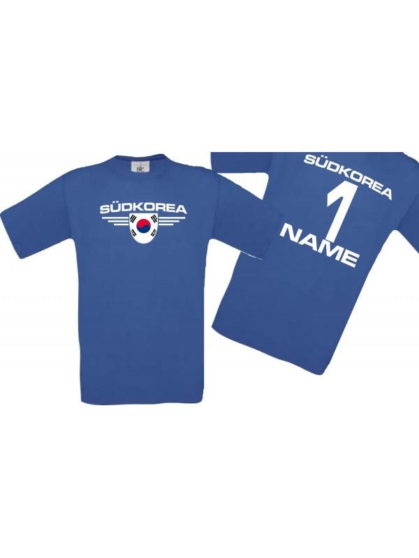 Man T-Shirt Südkorea Wappen mit Wunschnamen und Wunschnummer, Land, Länder, royal, L