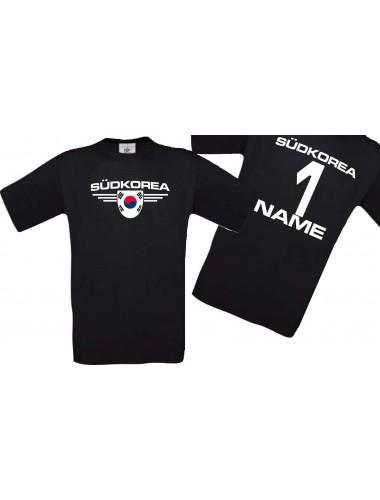 Man T-Shirt Südkorea Wappen mit Wunschnamen und Wunschnummer, Land, Länder, schwarz, L