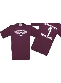 Man T-Shirt Südkorea Wappen mit Wunschnamen und Wunschnummer, Land, Länder, burgundy, L