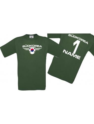 Man T-Shirt Südkorea Wappen mit Wunschnamen und Wunschnummer, Land, Länder, gruen, L