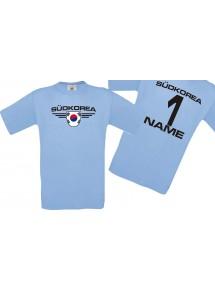 Man T-Shirt Südkorea Wappen mit Wunschnamen und Wunschnummer, Land, Länder, hellblau, L
