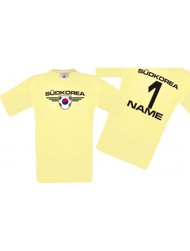Man T-Shirt Südkorea Wappen mit Wunschnamen und Wunschnummer, Land, Länder, hellgelb, L