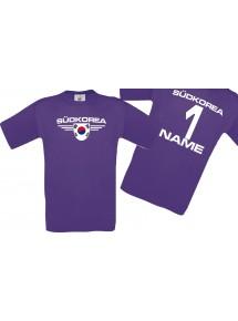 Man T-Shirt Südkorea Wappen mit Wunschnamen und Wunschnummer, Land, Länder, lila, L