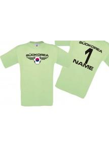 Man T-Shirt Südkorea Wappen mit Wunschnamen und Wunschnummer, Land, Länder, mint, L