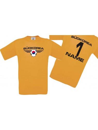 Man T-Shirt Südkorea Wappen mit Wunschnamen und Wunschnummer, Land, Länder, orange, L