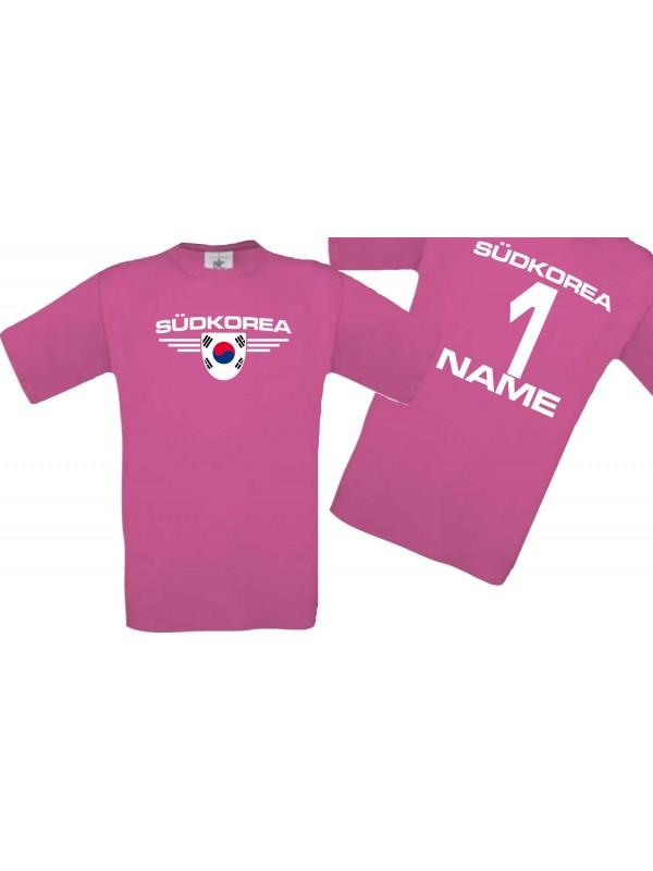 Man T-Shirt Südkorea Wappen mit Wunschnamen und Wunschnummer, Land, Länder, pink, L