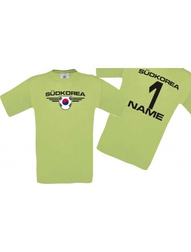 Man T-Shirt Südkorea Wappen mit Wunschnamen und Wunschnummer, Land, Länder, pistas, L