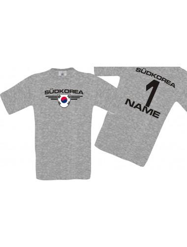 Man T-Shirt Südkorea Wappen mit Wunschnamen und Wunschnummer, Land, Länder, sportsgrey, L